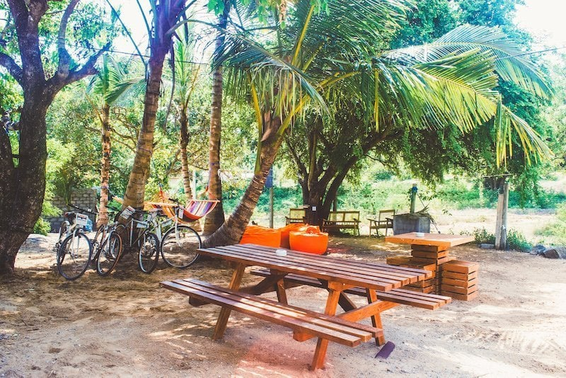 Outside chill area Hangover Hostel Arugam Bay Sri Lanka