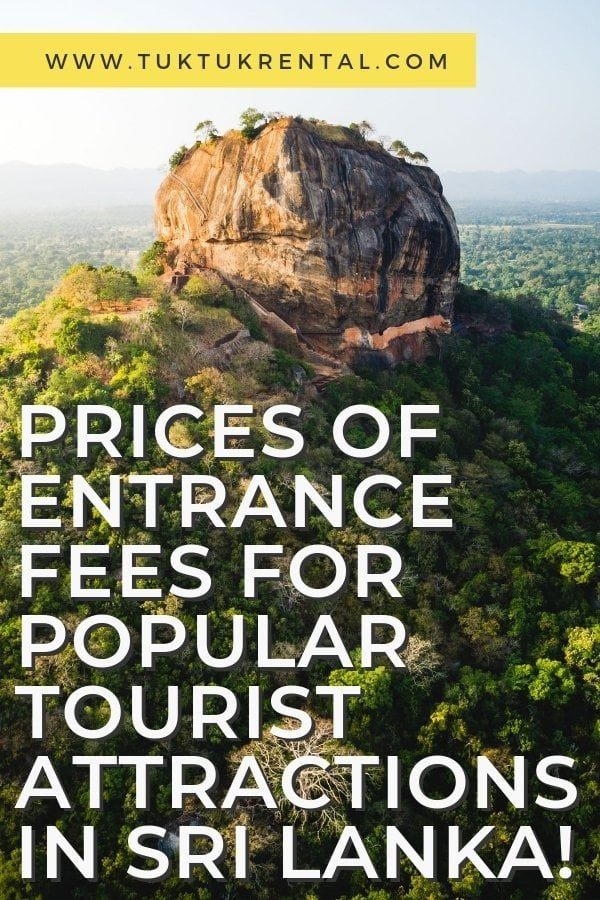 Prices of entrance fees for popular tourist attractions in